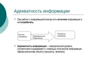 Адекватность информации При работе с информацией всегда есть источник информа