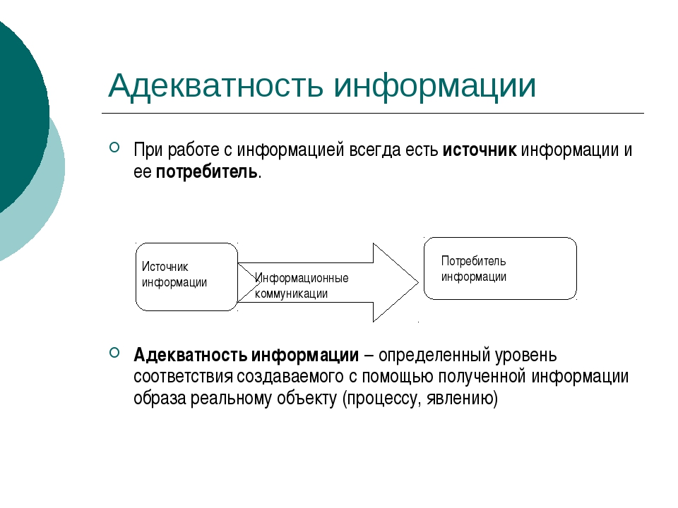 Адекватность информации При работе с информацией всегда есть источник информа...