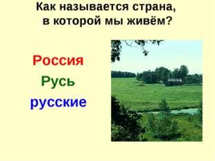 Как называется страна, в которой мы живём? Россия Русь русские