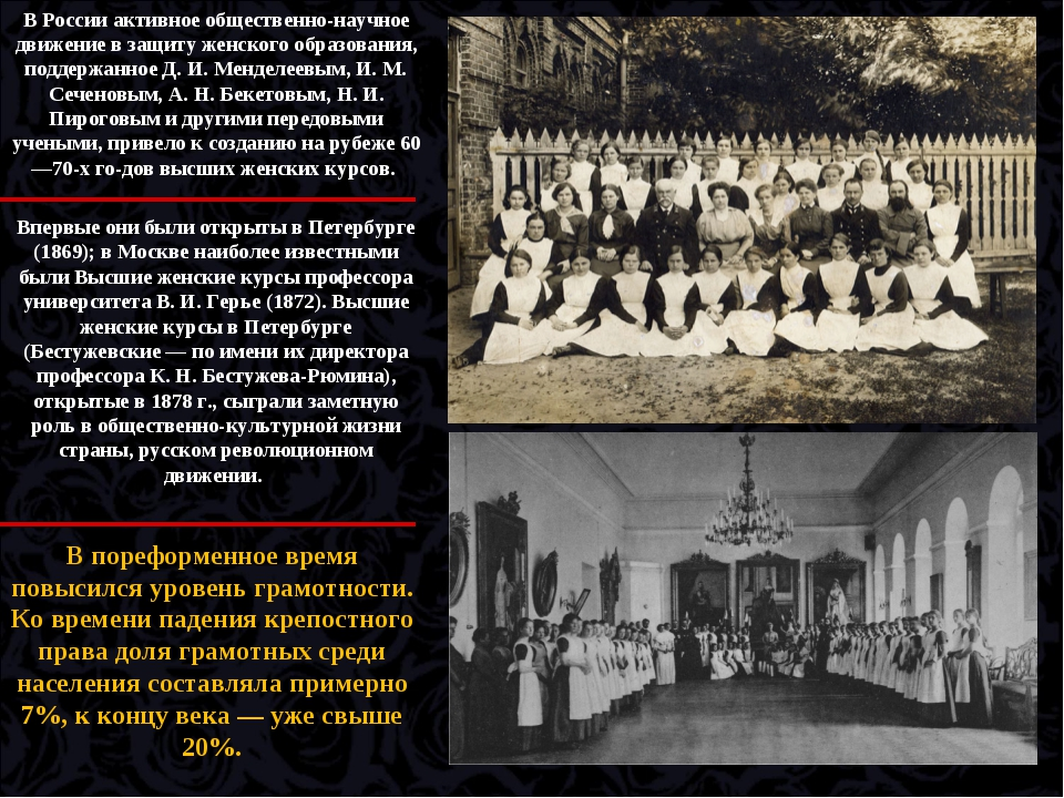 В России активное общественно-научное движение в защиту женского образования,...