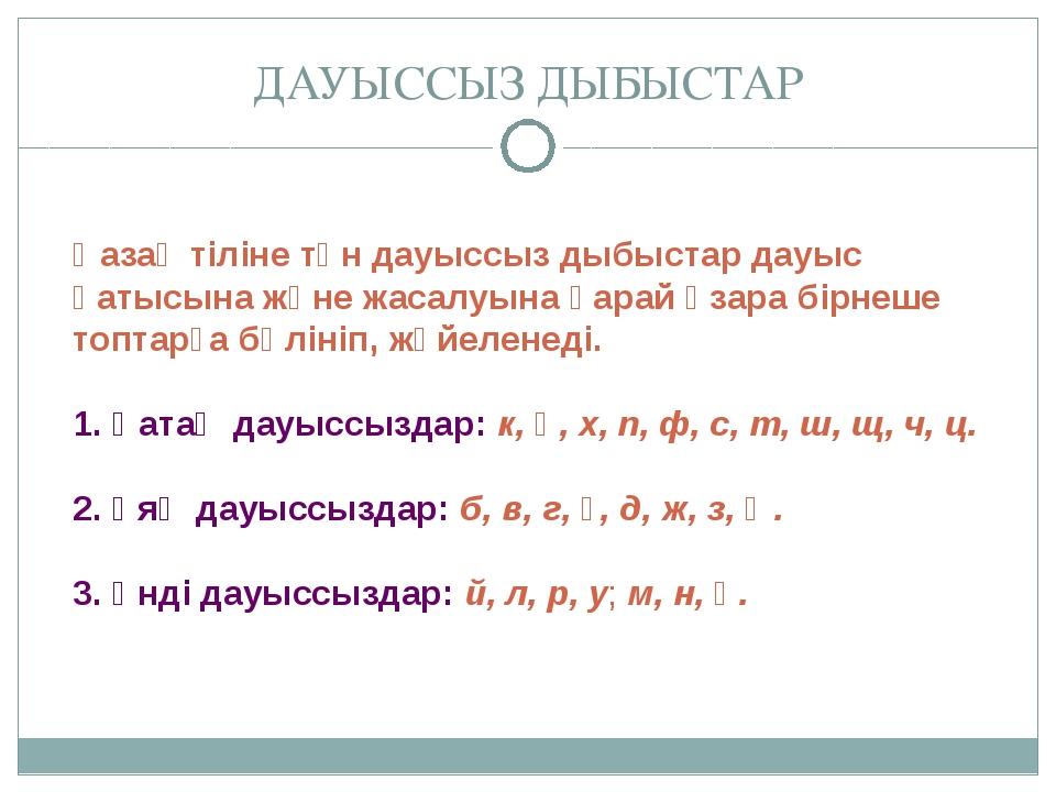 Қазақ тіліне тән дауыссыз дыбыстар дауыс қатысына және жасалуына қарай өзара...