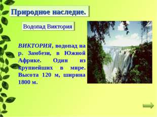 Природное наследие. Водопад Виктория ВИКТОРИЯ, водопад на р. Замбези, в Южной