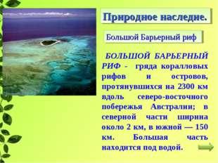 Большой Барьерный риф Природное наследие. БОЛЬШОЙ БАРЬЕРНЫЙ РИФ - гряда корал