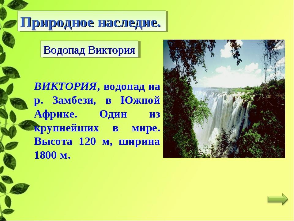 Природное наследие. Водопад Виктория ВИКТОРИЯ, водопад на р. Замбези, в Южной...