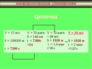 Цепочка V = 15 м/с S = 108000 м t = 7200 сV = 72 км/ч S = 144 км t = 7200с =