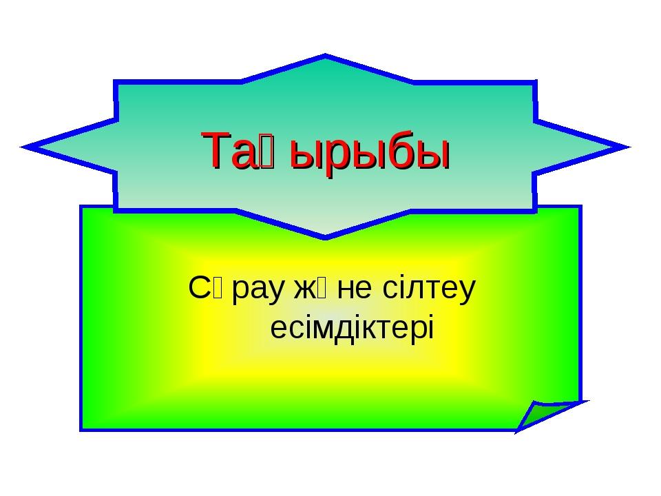 Сұрау және сілтеу есімдіктері Тақырыбы