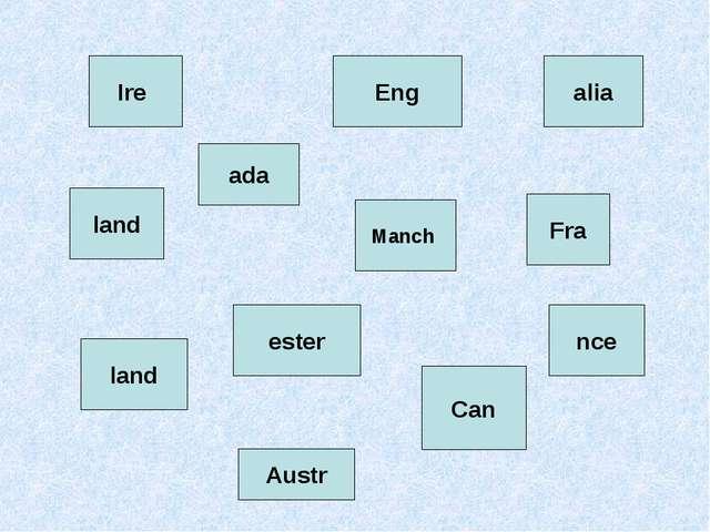 Eng land Ire land Manch ester Austr alia nce Fra Can ada