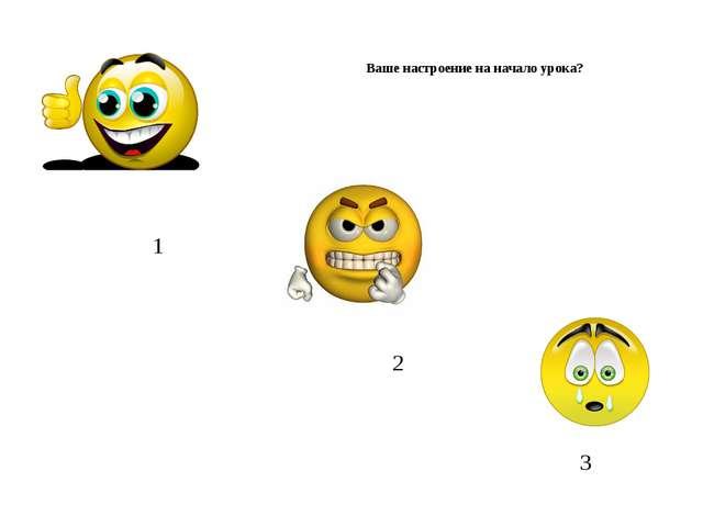 1 2 3 Ваше настроение на начало урока?