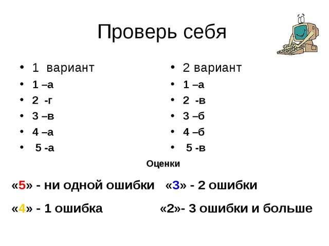 Проверь себя 1 вариант 1 –а 2 -г 3 –в 4 –а 5 -а 2 вариант 1 –а 2 -в 3 –б 4 –б...
