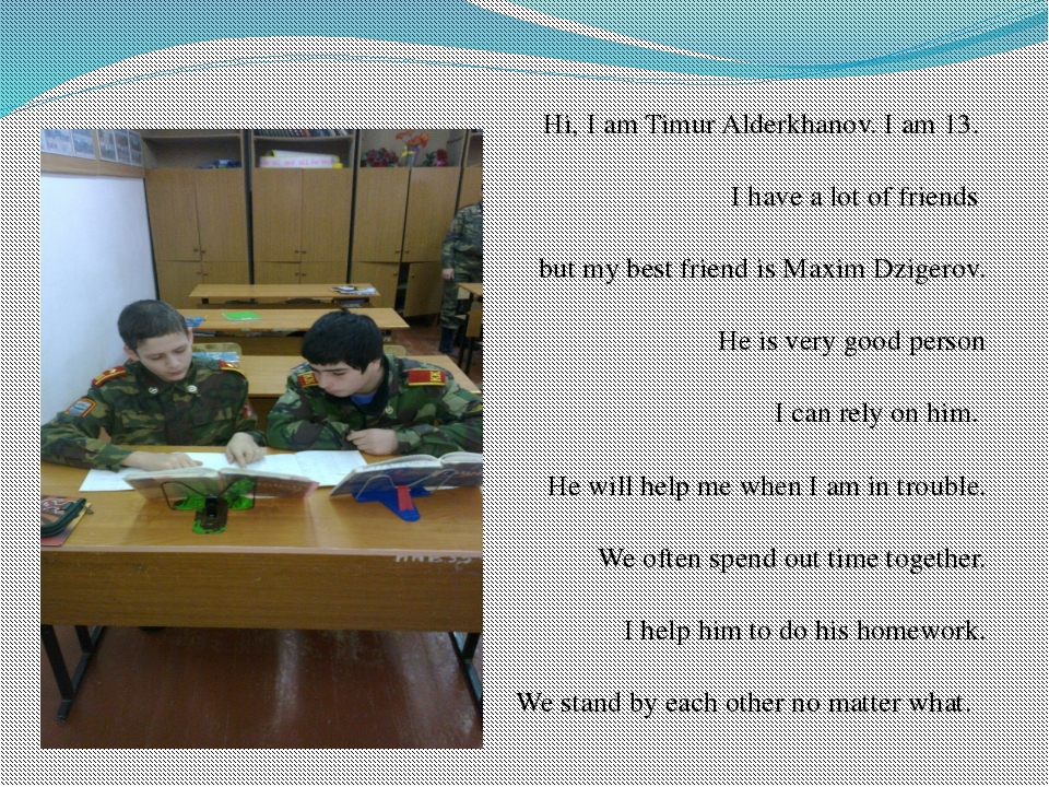 Hi, I am Timur Alderkhanov. I am 13. 