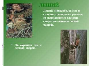ЛЕШИЙ Он охраняет лес и лесных зверей. Леший- мохнатое, рослое и сильное, с