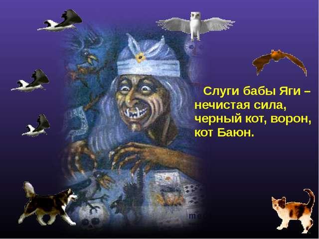 Слуги бабы Яги – нечистая сила, черный кот, ворон, кот Баюн.