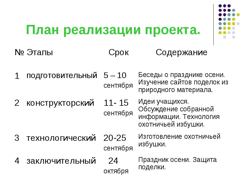 План реализации проекта.
