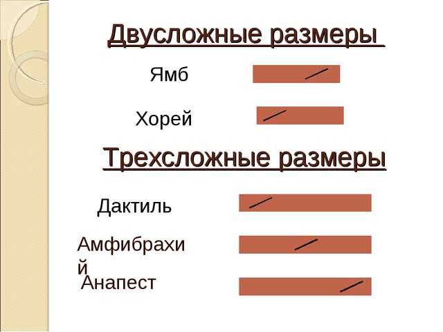 Двусложные размеры Ямб Хорей Трехсложные размеры Дактиль Амфибрахий Анапест...