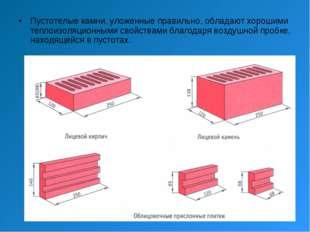 Пустотелые камни, уложенные правильно, обладают хорошими теплоизоляционными с