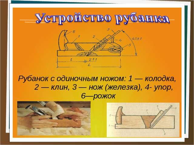 Рубанок с одиночным ножом: 1 — колодка, 2 — клин, 3 — нож (железка), 4- упор,...