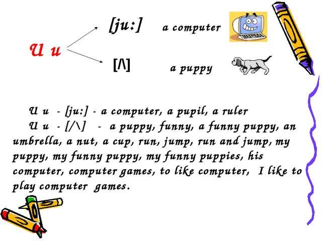 [ju:] [/\] U u a computer a puppy U u - [ju:] - a computer, a pupil, a ruler...