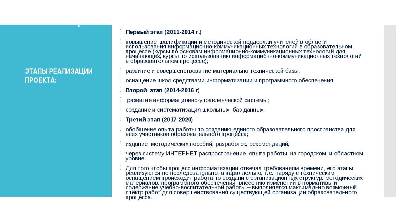 Этапы реализации Первый этап (2011-2014 г.) повышение квалификации и методиче...