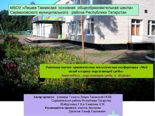 МБОУ «Лешев Тамакская основная общеобразовательная школа» Сармановского муниц