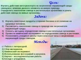 Цель: Изучить действия автотранспорта на загрязнение окружающей среды свинцо