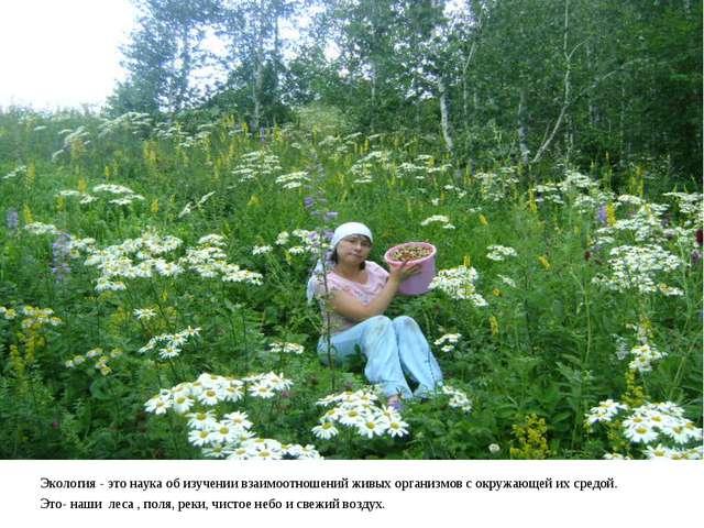 Экология - это наука об изучении взаимоотношений живых организмов с окружающ...