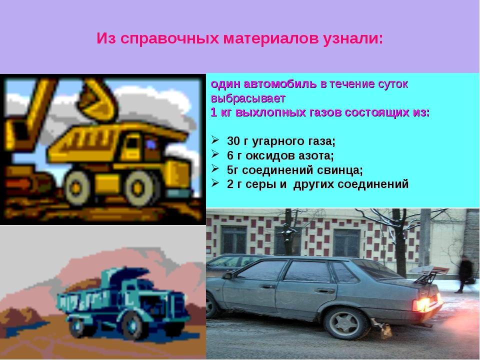 Из справочных материалов узнали: один автомобиль в течение суток выбрасывает...