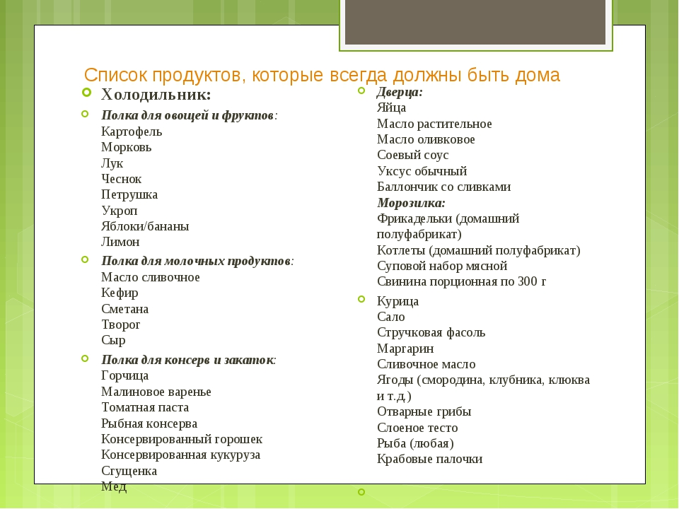 Список продуктов, которые всегда должны быть дома Холодильник: Полка для овощ...