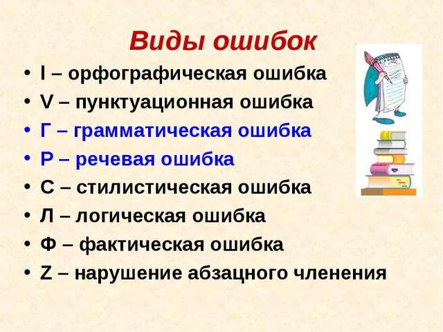Виды ошибок l– орфографическая ошибка V– пунктуационная ошибка Г – граммати...