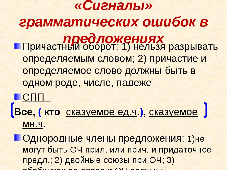 «Сигналы» грамматических ошибок в предложениях Причастный оборот: 1) нельзя р...