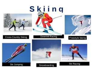 S k i i n g Cross-Country Skiing Downhill Racing Freestyle Skiing Ski Jumping