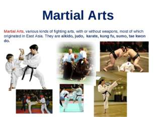 Martial Arts Martial Arts, various kinds of fighting arts, with or without we
