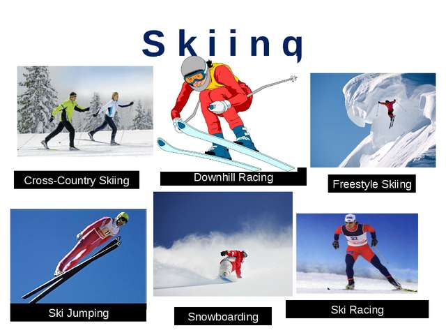 S k i i n g Cross-Country Skiing Downhill Racing Freestyle Skiing Ski Jumping...