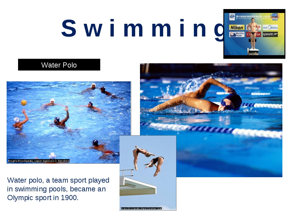 S w i m m i n g Water Polo Synchronized Swimming Water polo, a team sport pla...
