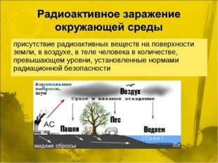 присутствие радиоактивных веществ на поверхности земли, в воздухе, в теле чел