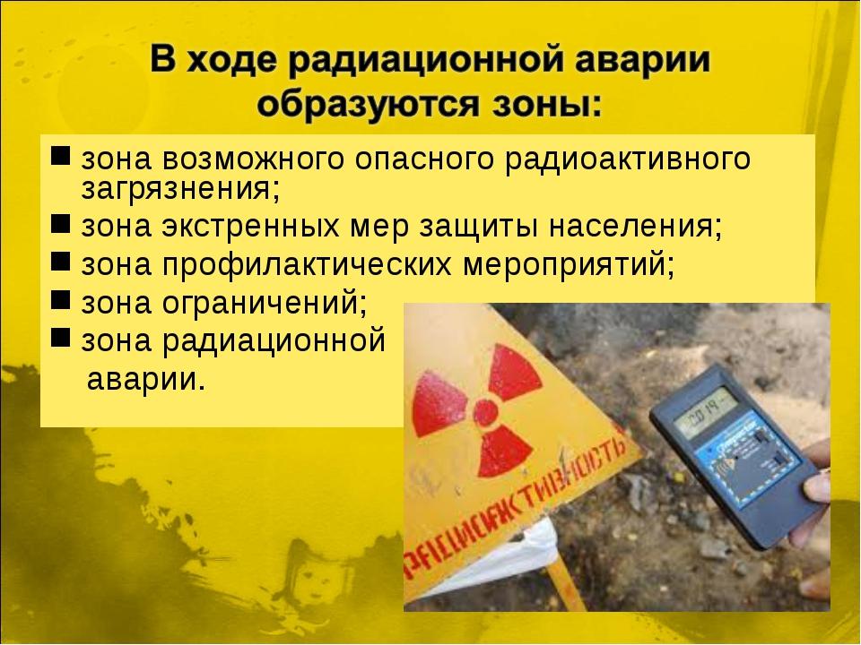 зона возможного опасного радиоактивного загрязнения; зона экстренных мер защи...
