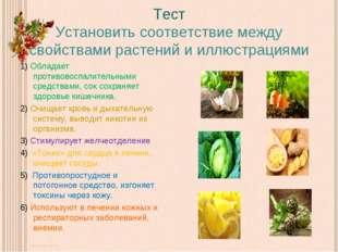 Тест Установить соответствие между свойствами растений и иллюстрациями 1) Обл