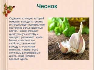 Чеснок Содержит аллицин, который помогает выводить токсины и способствует нор