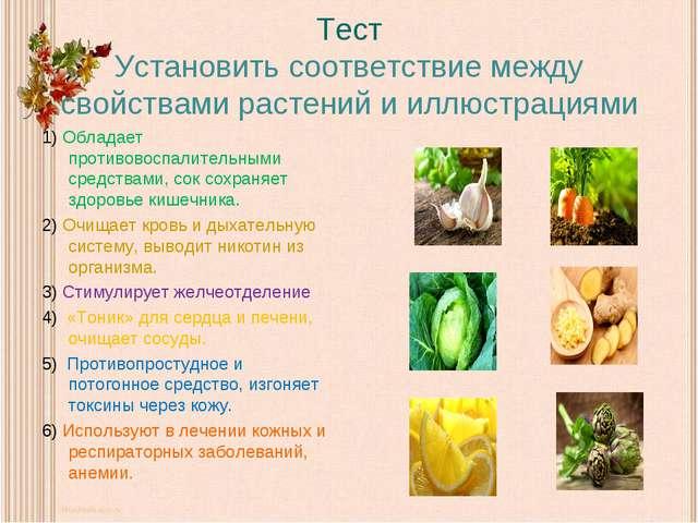 Тест Установить соответствие между свойствами растений и иллюстрациями 1) Обл...