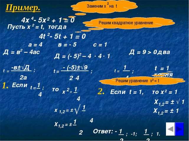 Пример. 4х 4- 5х² + 1 = 0 Заменим х на t ² Пусть х 2 = t, тогда 4t 2- 5t + 1...