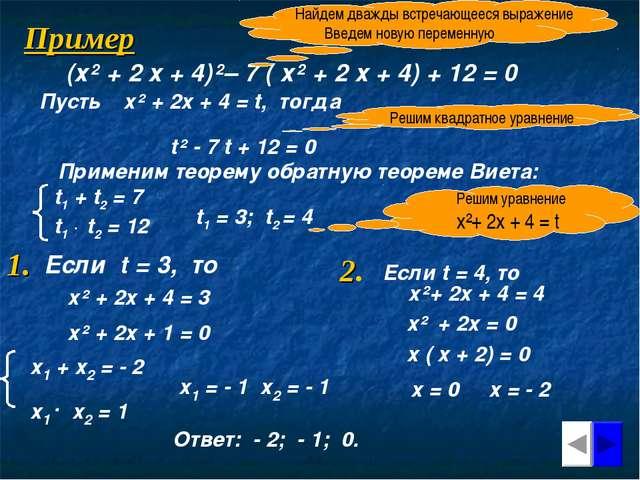 Пример (х² + 2 х + 4)²– 7 ( х² + 2 х + 4) + 12 = 0 Найдем дважды встречающеес...
