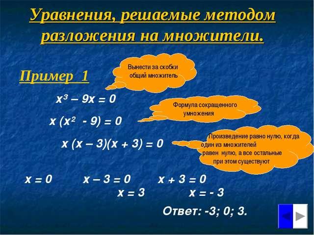 Уравнения, решаемые методом разложения на множители. Вынести за скобки общий...