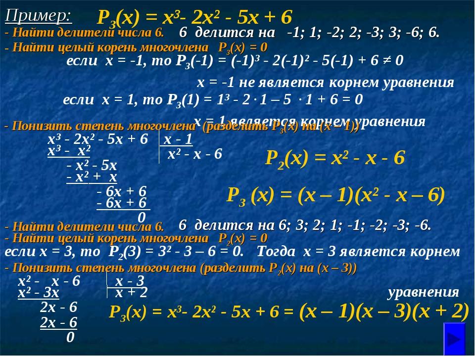 Пример: Р3(х) = х³- 2х² - 5х + 6 6 делится на -1; 1; -2; 2; -3; 3; -6; 6. есл...