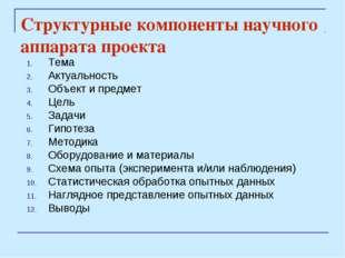 Структурные компоненты научного аппарата проекта Тема Актуальность Объект и п