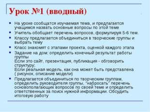 Урок №1 (вводный) На уроке сообщатся изучаемая тема, и предлагается учащимся