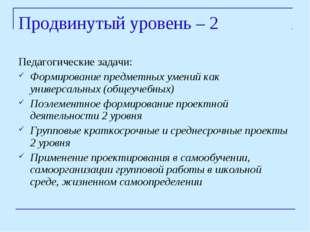 Продвинутый уровень – 2 Педагогические задачи: Формирование предметных умений