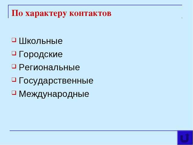По характеру контактов Школьные Городские Региональные Государственные Междун...