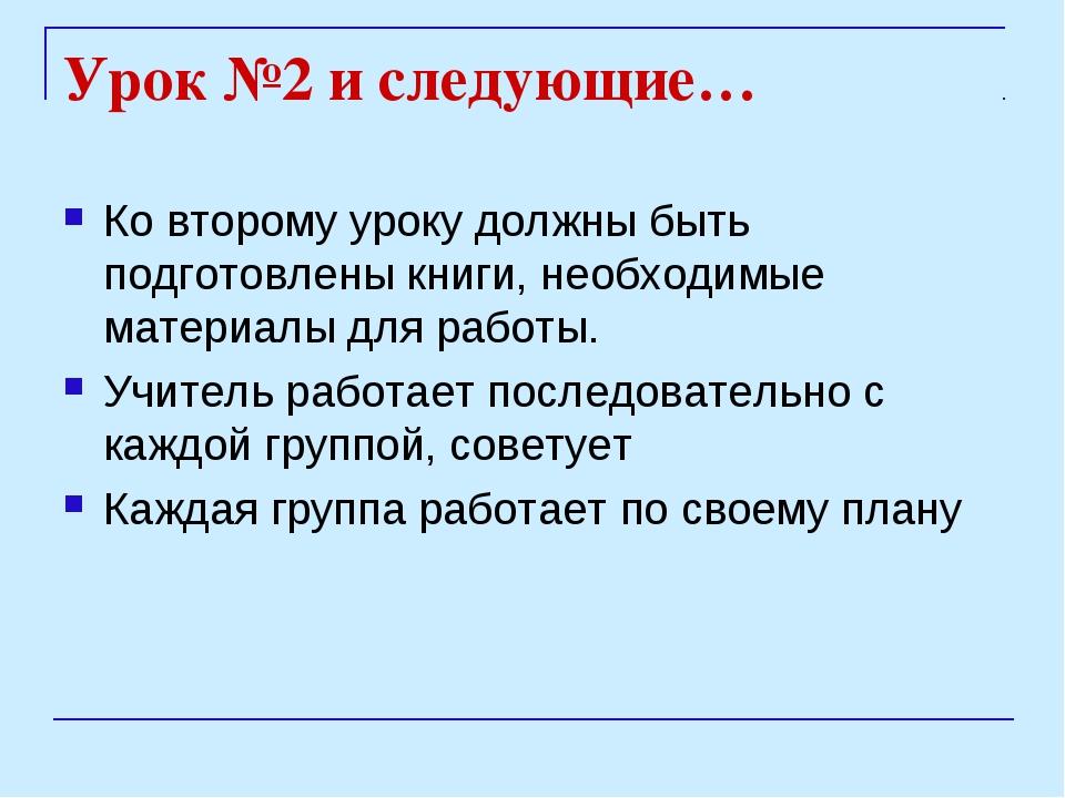Урок №2 и следующие… Ко второму уроку должны быть подготовлены книги, необход...