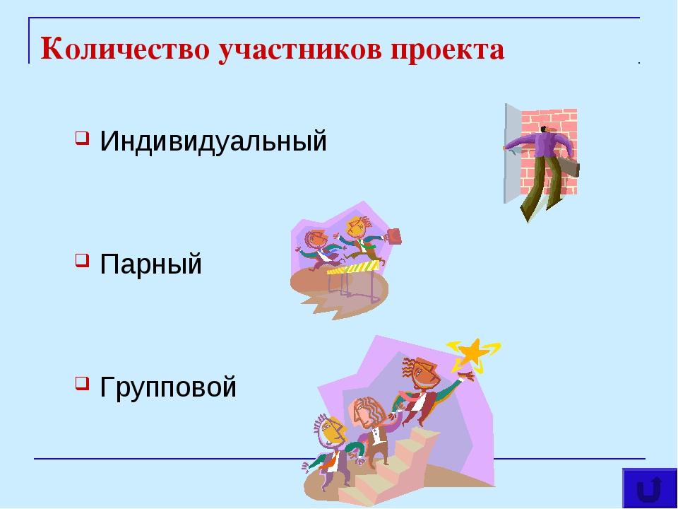Количество участников проекта Индивидуальный Парный Групповой