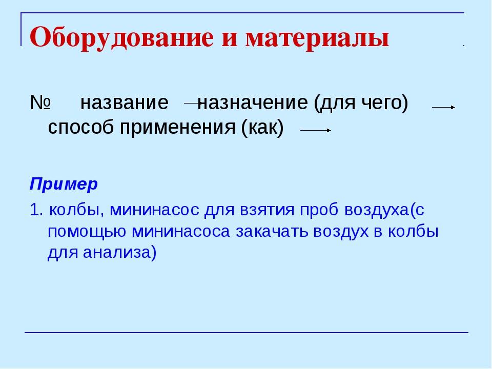 Оборудование и материалы № название назначение (для чего) способ применения (...