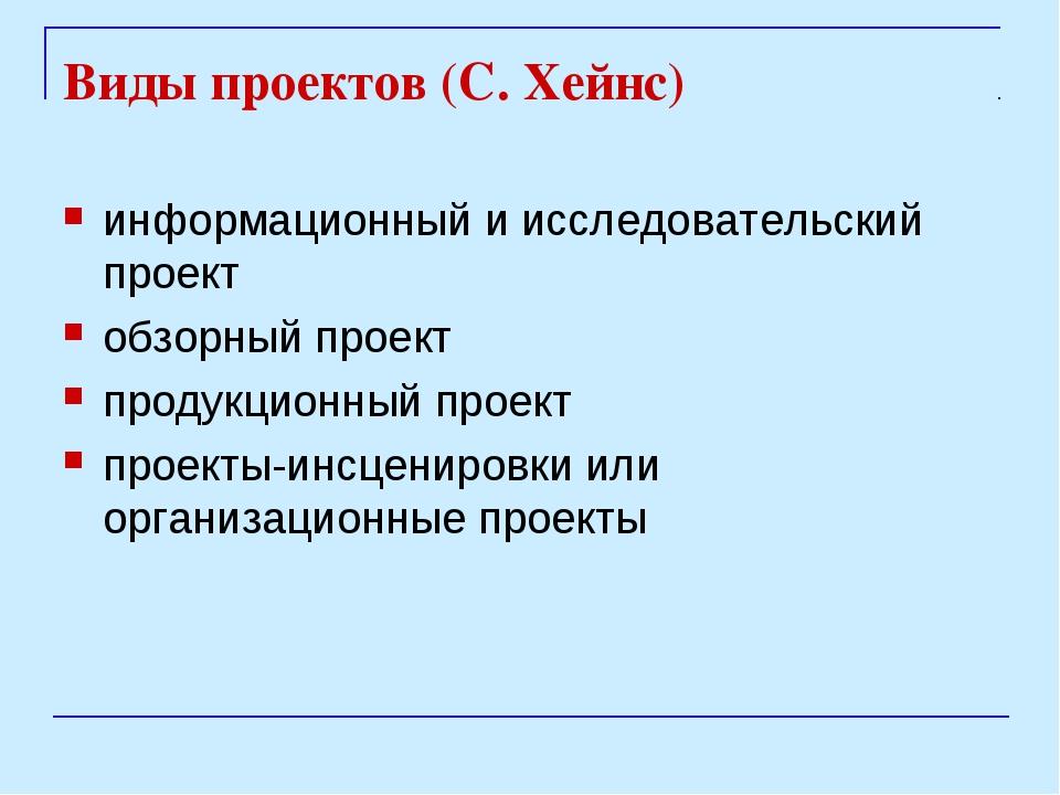 Виды проектов (С. Хейнс) информационный и исследовательский проект обзорный п...
